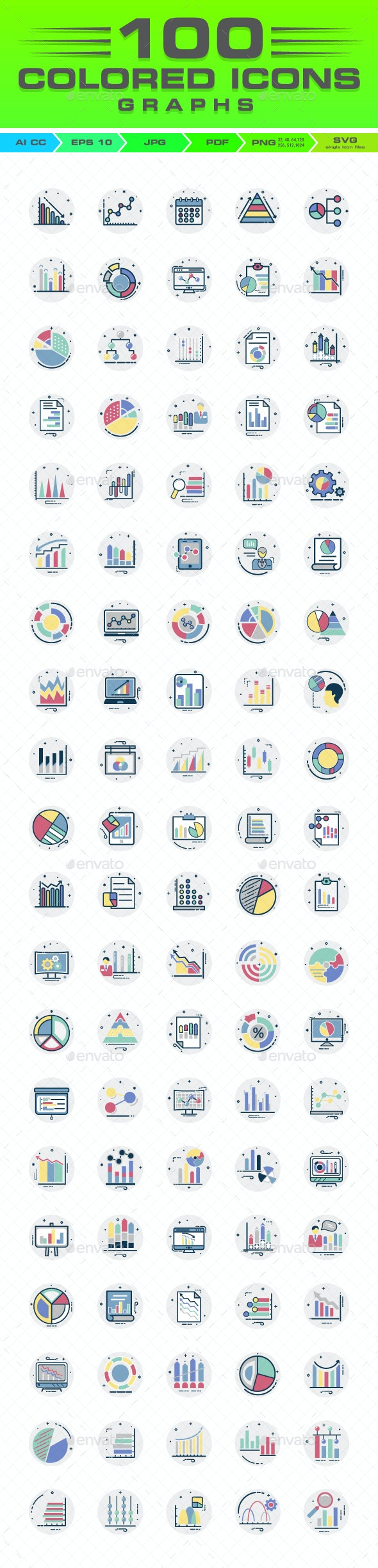 100 Graph Report And Diagram Color Vector Icons Set - Icons