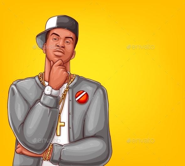 Vector Pop Art Rap Hip-hop Male Character - People Characters