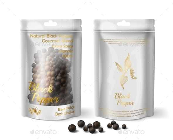 Vector Realistic Package of Black Pepper - Food Objects