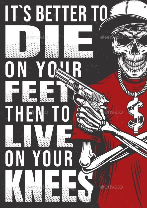 Gangsta Poster with Skeleton - Miscellaneous Vectors