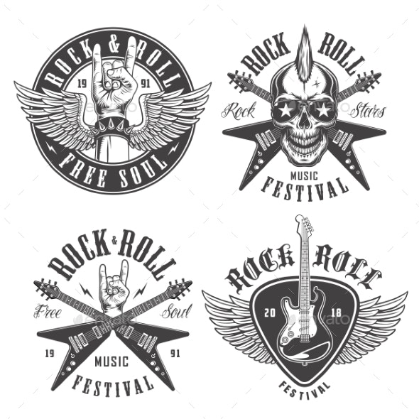 Rock and Roll Emblems - Miscellaneous Vectors