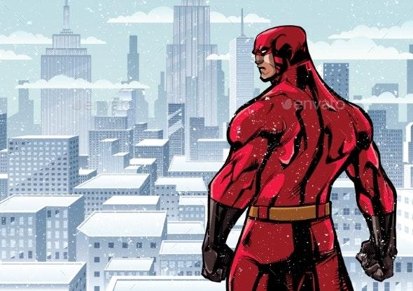 Superhero Back City Winter - People Characters