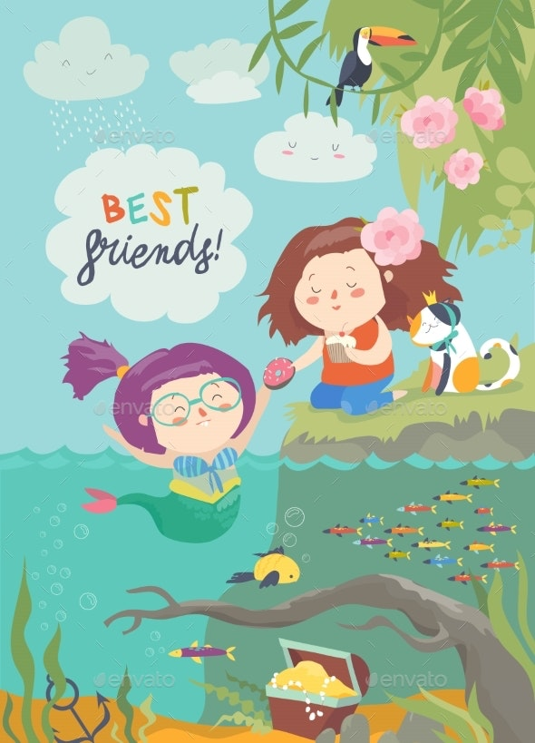Mermaid and Girl Are Best Friends - People Characters