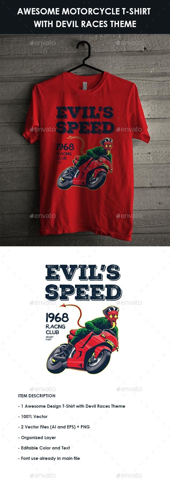 Motorcycle T-Shirt with Devil Races Illustration - Sports & Teams T-Shirts