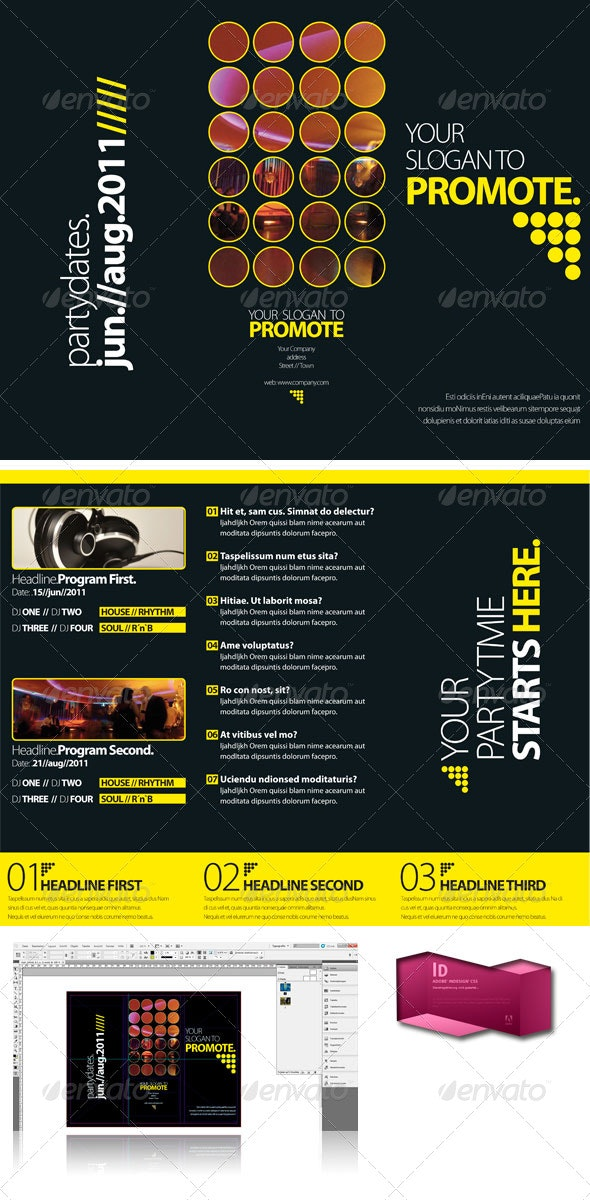 Black Club Trifold Brochure InDesign Template - Corporate Brochures