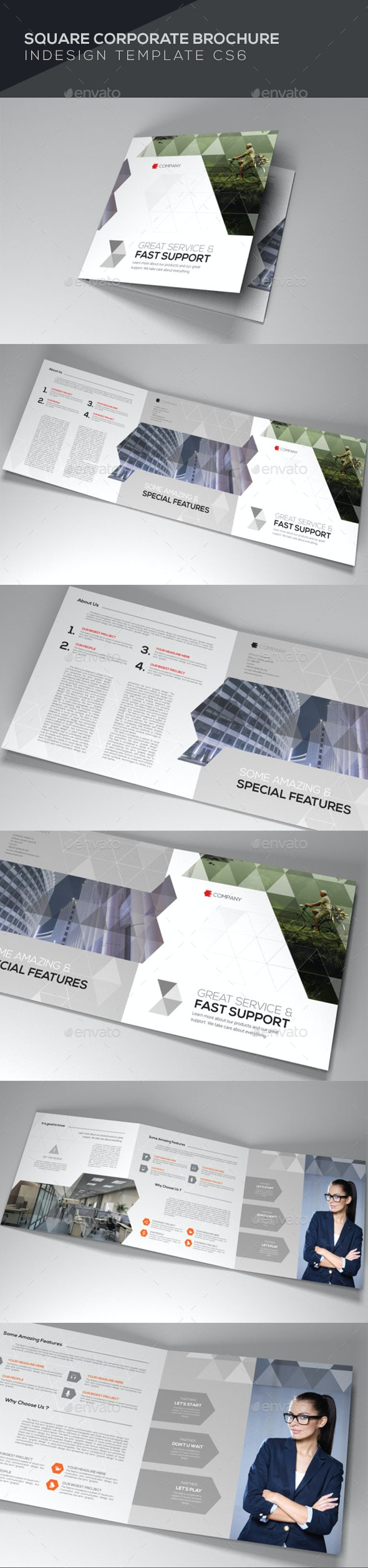 Square Corporate Brochure - Brochures Print Templates