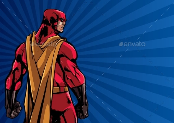 Superhero Back Ray Light Background - People Characters