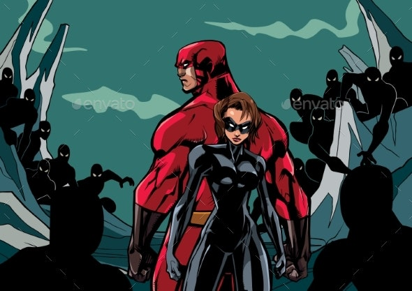 Superhero Couple Against Minions - People Characters