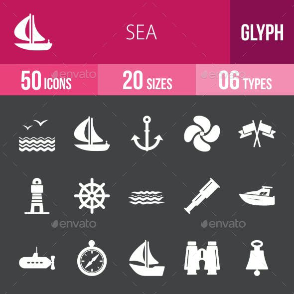 Sea Glyph Inverted Icons