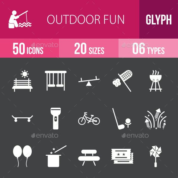 Outdoor Fun Glyph Inverted Icons