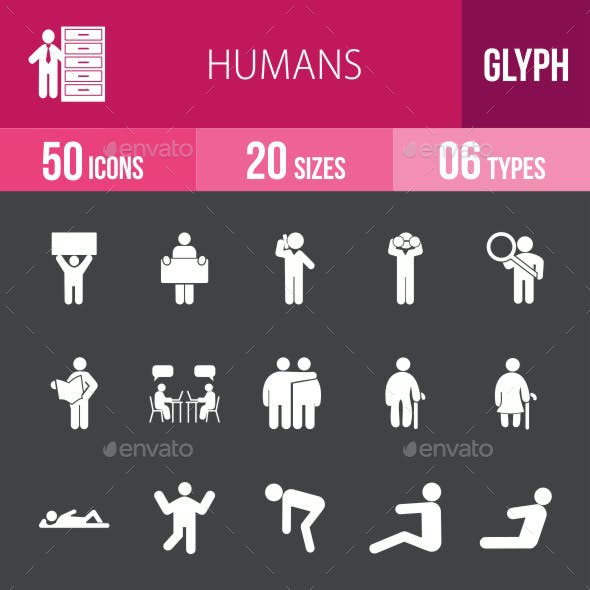 Humans Glyph Inverted Icons
