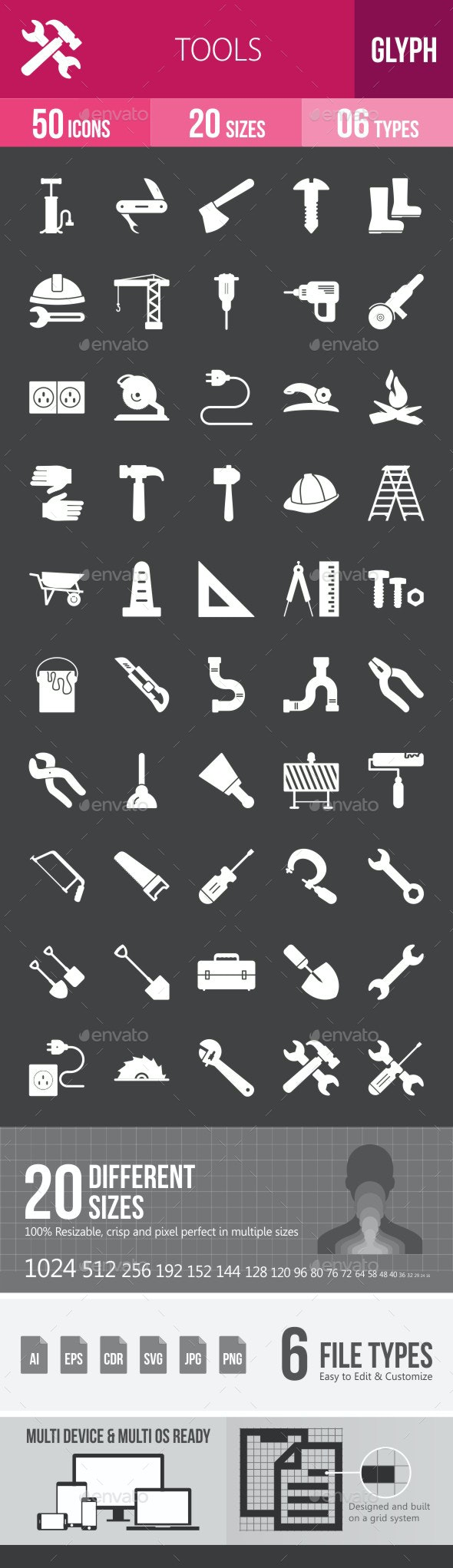 Tools Glyph Inverted Icons - Icons