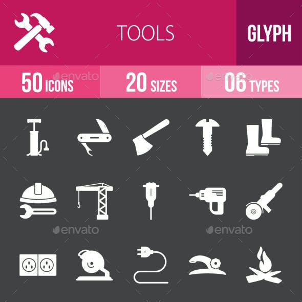 Tools Glyph Inverted Icons