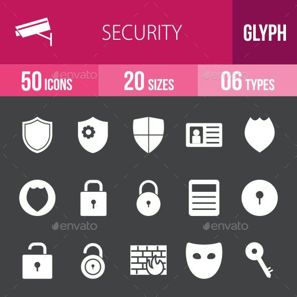 Security Glyph Inverted Icons