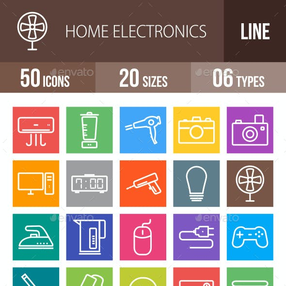 50 Home Electronics Line Multicolor B/G Icons