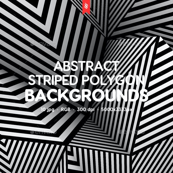 3D Striped Polygon Backgrounds