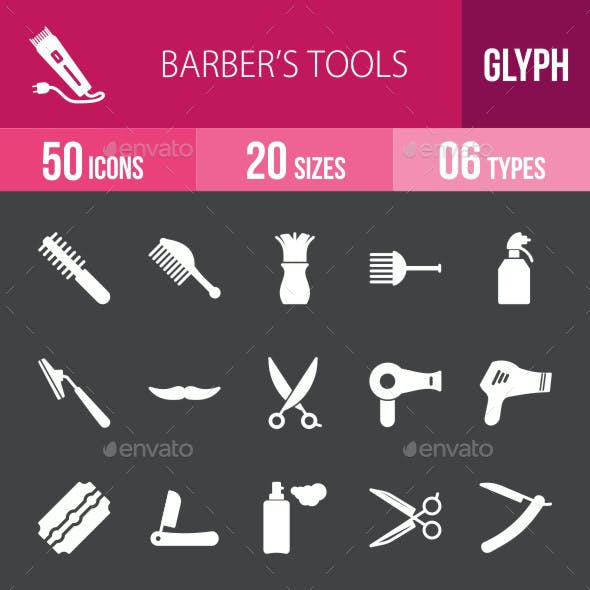 Barber's Tools Glyph Inverted Icons