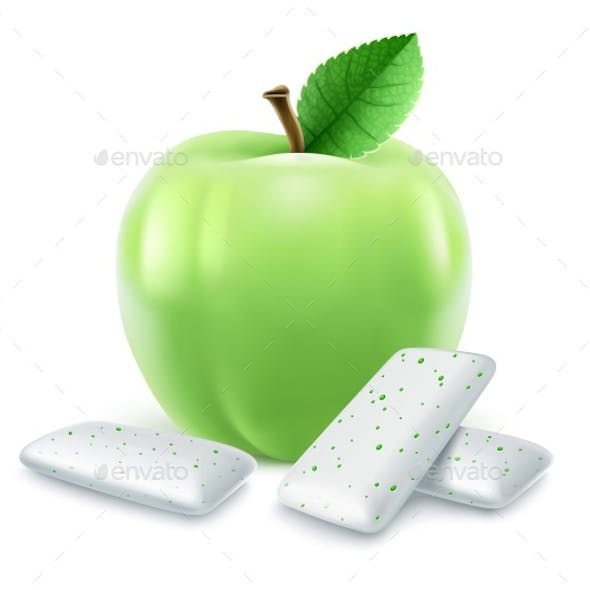 Pads of Bubble Gum with Green Apple Flavour