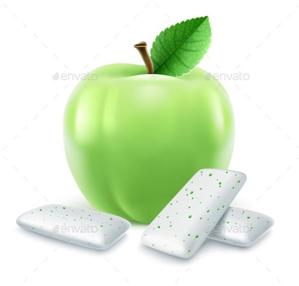 Pads of Bubble Gum with Green Apple Flavour - Food Objects