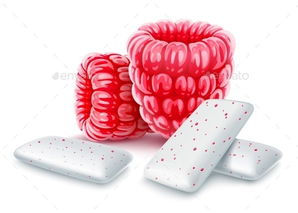 Pads of Bubble Gum with Sweet Raspberry Flavour - Food Objects