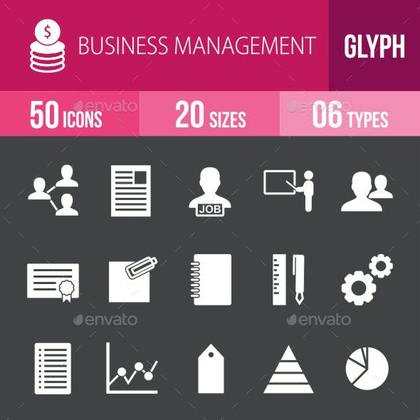 Business Management Glyph Inverted Icons