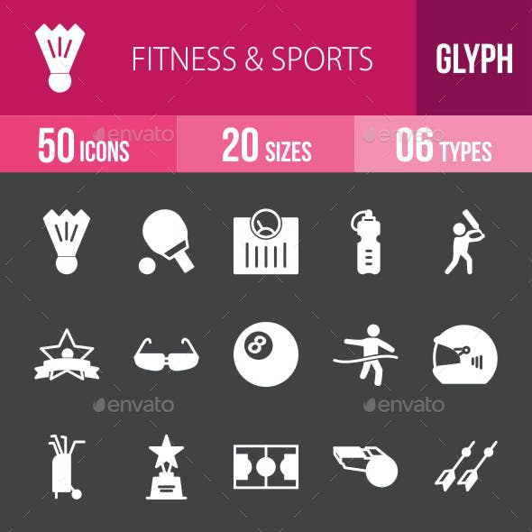 Fitness & Sports Glyph Inverted Icons