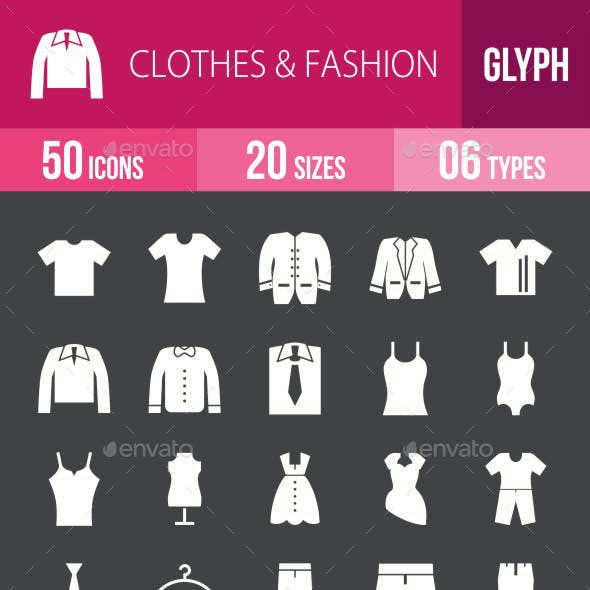 Clothes & Fashion Glyph Inverted Icons
