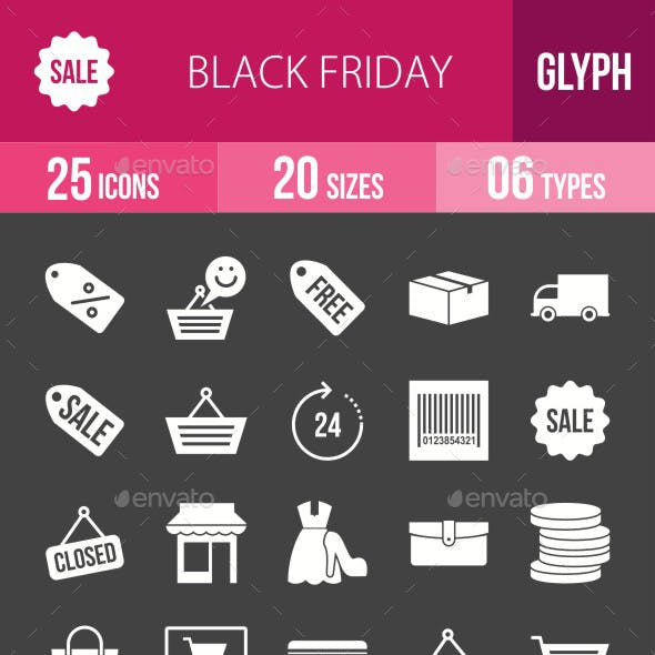 Black Friday Glyph Inverted Icons