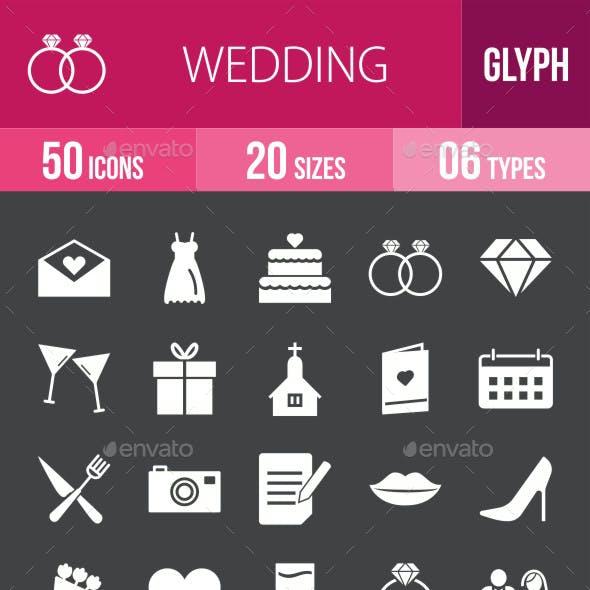 Wedding Glyph Inverted Icons