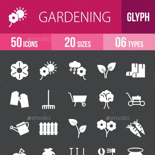 Gardening Glyph Inverted Icons
