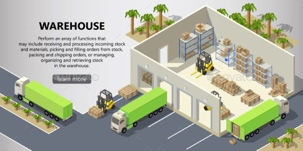Vector Isometric Warehouse Delivery Service - Miscellaneous Conceptual