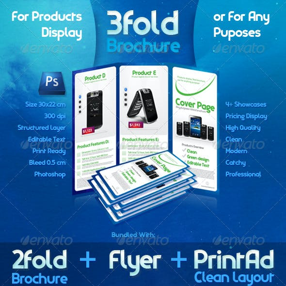 3 Fold Brochure Template with 6 Color Variations