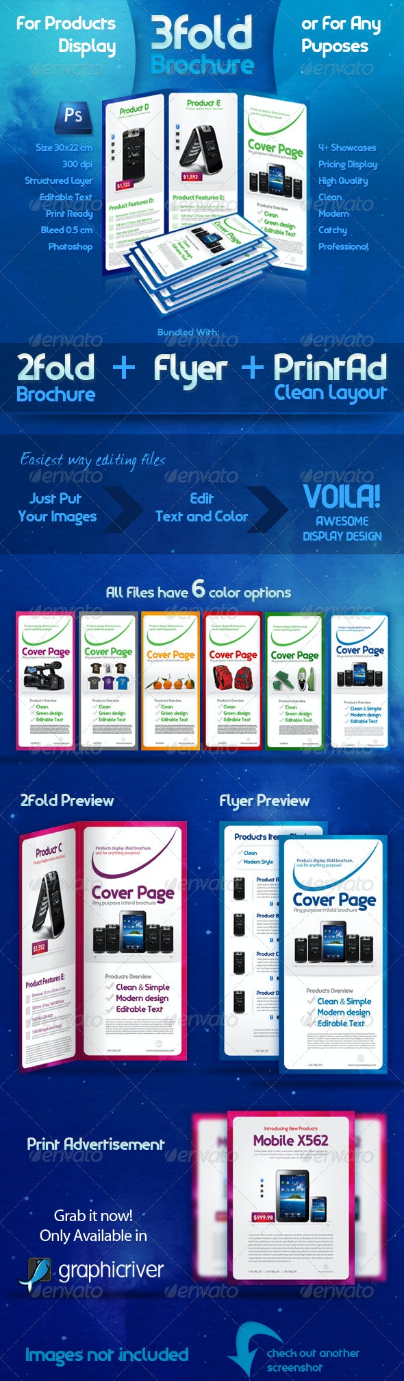 3 Fold Brochure Template with 6 Color Variations - Corporate Brochures