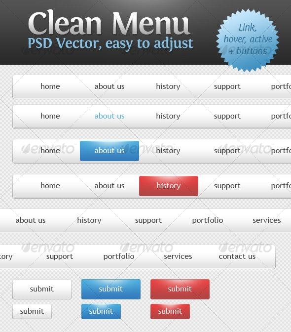 Clean Menu - Buttons Web Elements