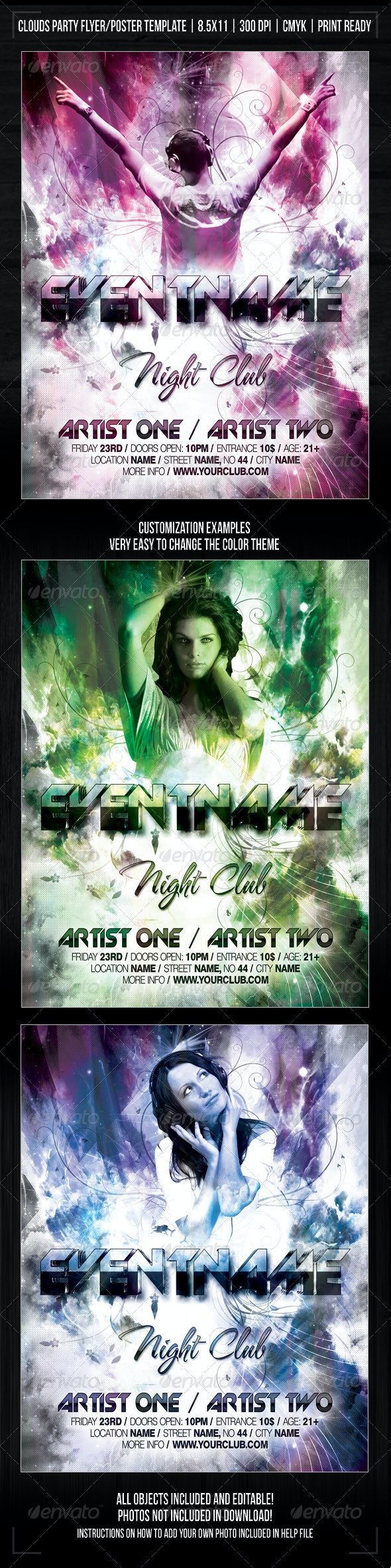 Night Club Explosion Party Flyer/Poster Template - Clubs & Parties Events