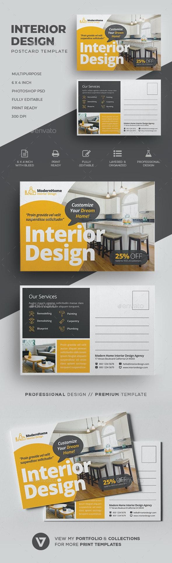 Interior Design Postcard - Cards & Invites Print Templates