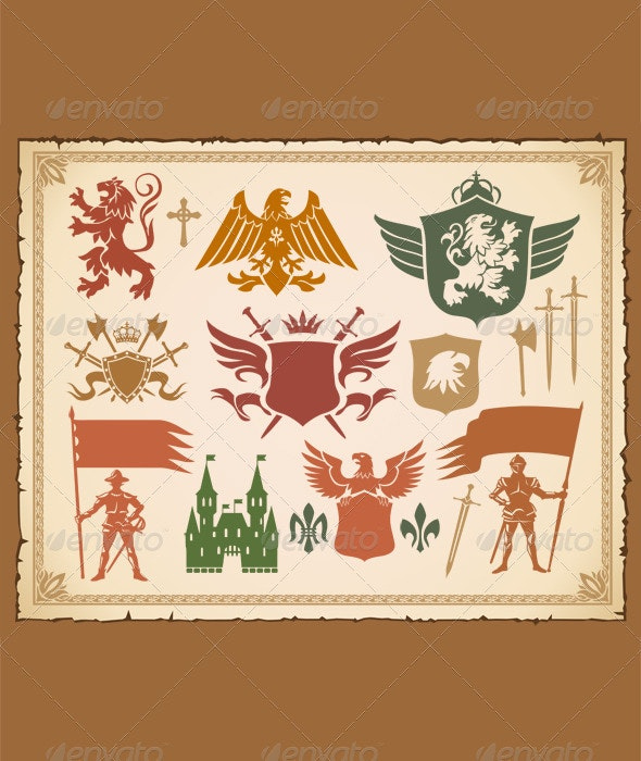 Heraldic set with lions, knights, crowns and shiel - Decorative Symbols Decorative