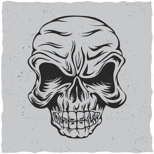 Angry Skull - Backgrounds Decorative
