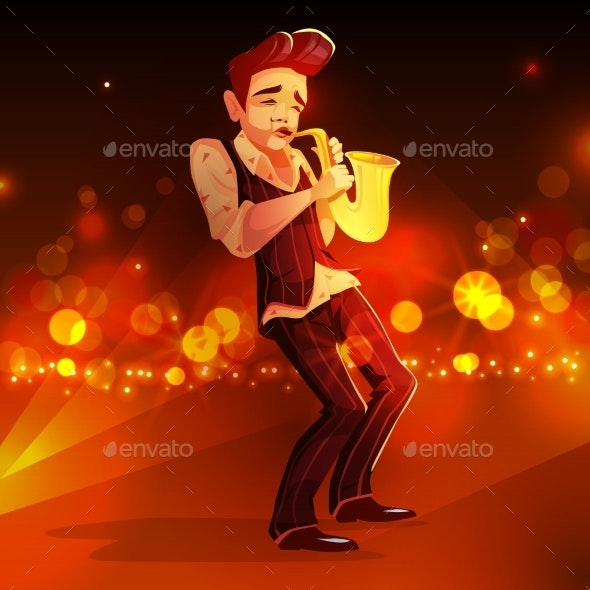 Jazz Man with Saxophone Vector Illustration - People Characters