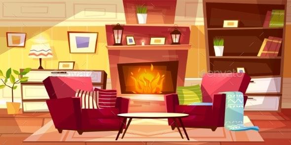 Living Room Interior Vector Illustration - Conceptual Vectors