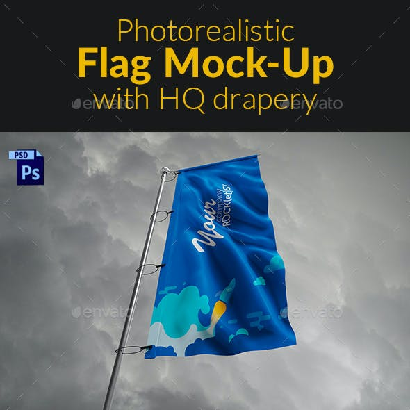 Photorealistic Flag Mock-Up with HQ drapery