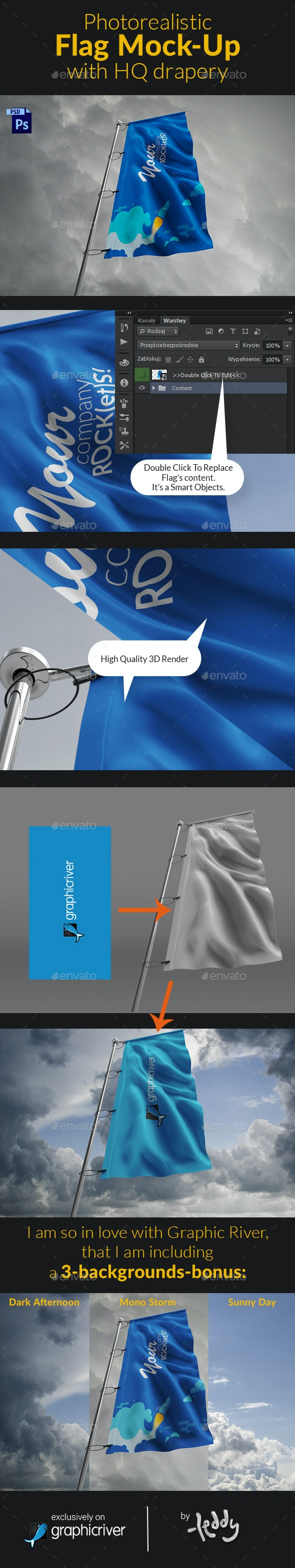 Photorealistic Flag Mock-Up with HQ drapery - Signage Print