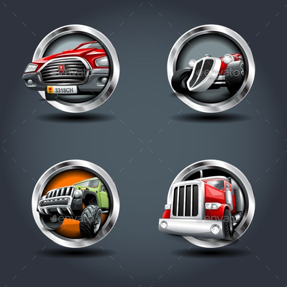 Vehicle Steely Rounded Badge Icons - Man-made Objects Objects