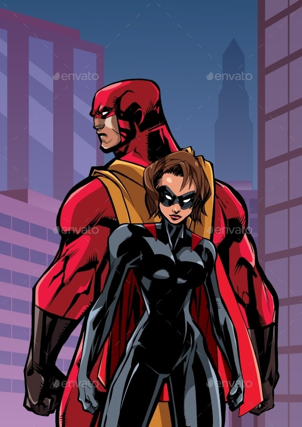 Superhero Couple in City - People Characters