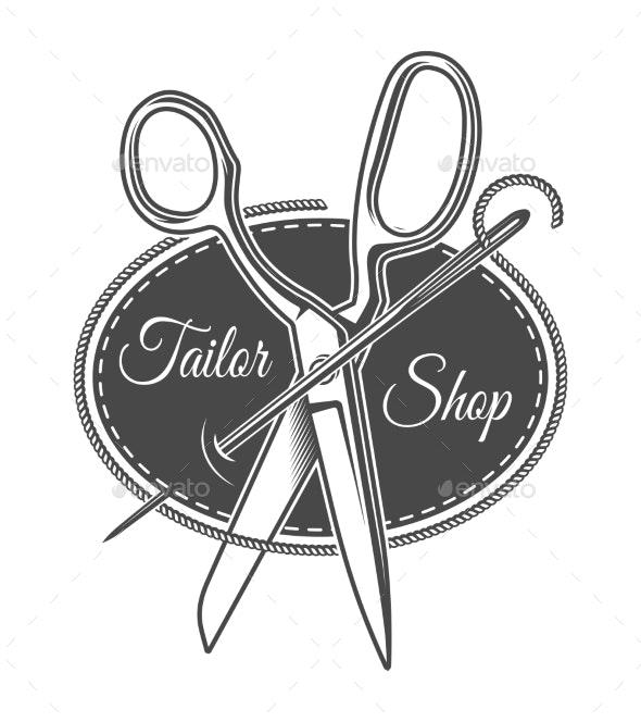 Vintage Monochrome Tailor Shop Logotype - Miscellaneous Vectors