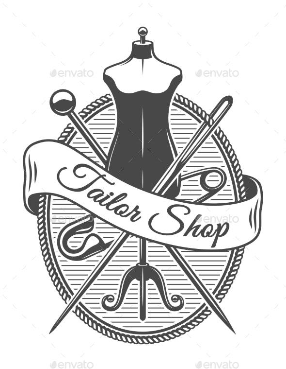 Vintage Tailor Shop Monochrome Logotype - Miscellaneous Vectors