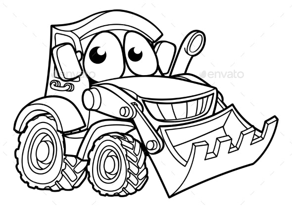 Cartoon Character Digger Bulldozer Vehicle - Industries Business