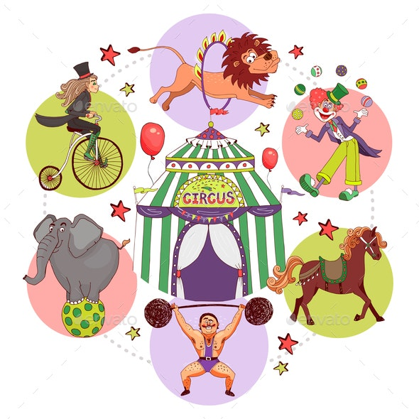 Flat Circus Round Concept - Animals Characters