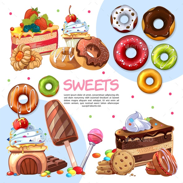 Cartoon Sweet Products - Food Objects