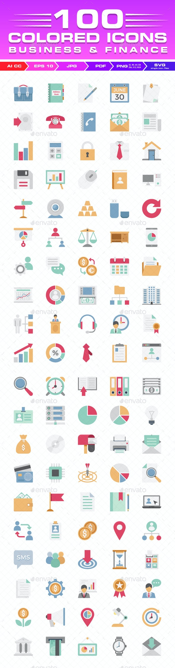 100 Business and Finance Color Vector Icons Set - Icons